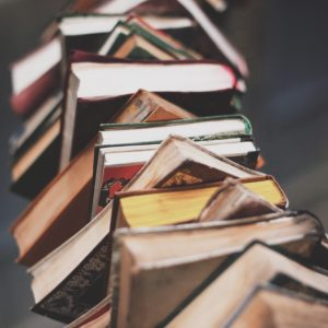 books stacked high